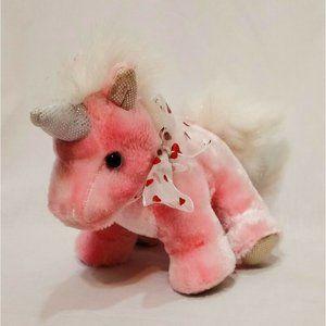 "Pink Unicorn Heart Bow 7""  Plush Stuffed Animal Dan Dee 2009 Sparkly"